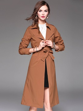 Chic Plain Lace Up Long Trench Coat