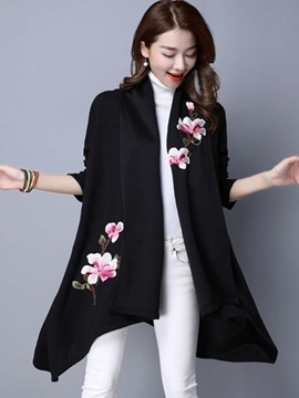 Ethnic Embroidery Loose Trench Coat
