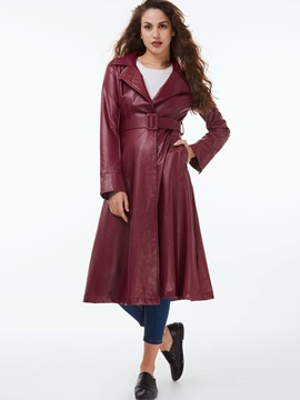 Stylish High Waist Belt Slim Trench Coat
