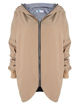 Stylish Zipper Hooded Plain Trench Coat