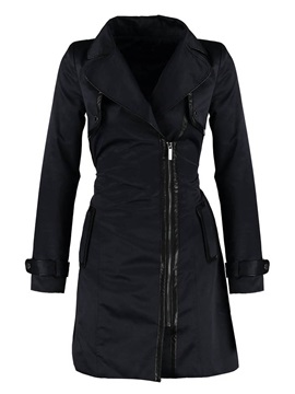 Stylish Lapel Side Zipper Trench Coat