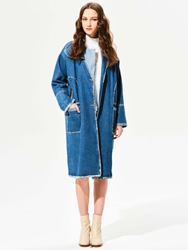 Stylish Lapel Single-Breasted Trench Coat