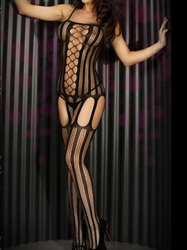 Black Strap Fishnet Striped Cut Out Body Stocking