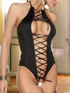 Lace-up Front Open Black Halter Teddies