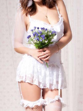 Lace White Hollow Babydoll for Women