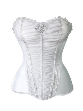 Elegant Lace-up/Front Stretch Lace Overbust Corset