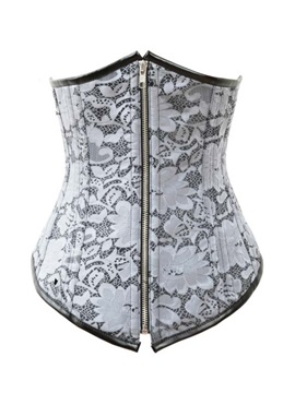 Floral Pattern Lace-Up/Front Zipper Corset