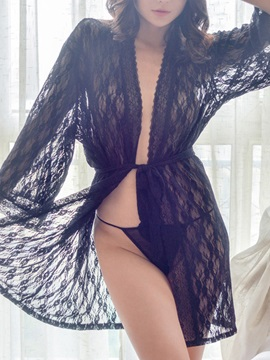 Chic Elegant Lace Solid Color Robe