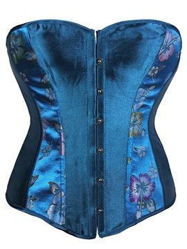 Fancy Exotic Blue Floral Lace-Up Corset