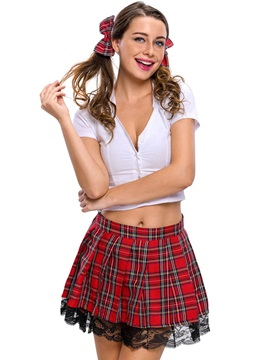 Deep V-Neck Plaid Above Knee Student Cosplay Costume