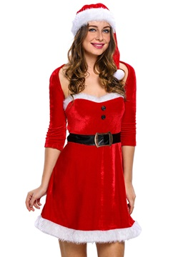 Beautiful Velvet Button-Decorated Santa Cosplay Christmas Costume