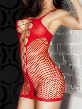 Red Crisscross Fishnet Chemise