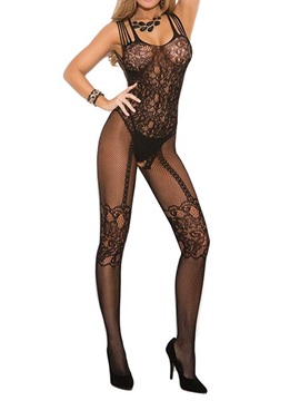 Beautiful See-through Floral Black Women Body Stocking