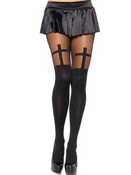 Cross Pattern Black Lace Tight Pantyhose
