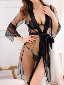 Seductive Sheer See-Through Mesh Robe with Bra Set