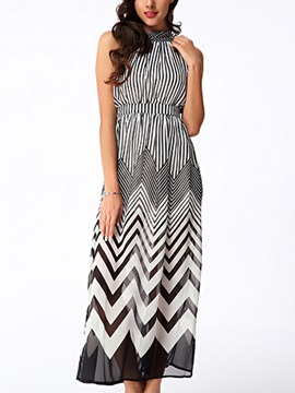 Vogue Wave Stripe Off-Shoulder Chiffon Maxi Dress