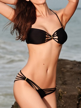 Black Strappy Bikini Set Swimwear