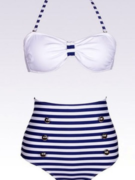 Cool Strip Buttons High Waist Bikini