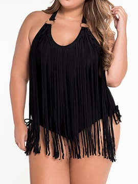 Solid Color Halterneck Tassel Designed Side-Tie One-Piece Swimsuit