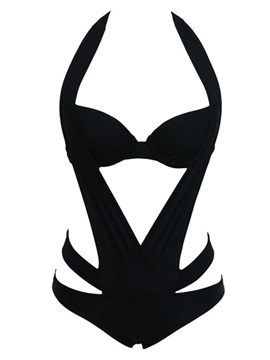 Sexy Black Polyester Hollow Halter One-Piece Swimsuit