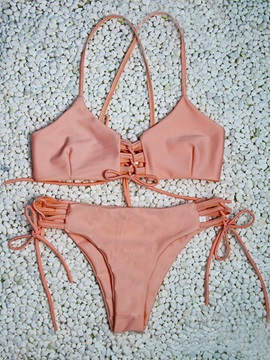Strappy Lace Up Pink Bikini Swimsuit