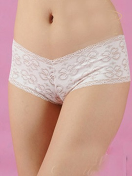 Adorable White Lace Cut-outs Women's Sensual Pantie