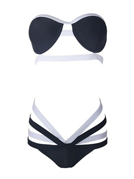 Stylish Color Block Strap Hollow Designed One-Piece Swimsuit