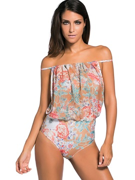 Vintage Floral High Waist One Piece Swimsuit