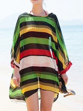 Stylish Multicolor Stripe Printed  Three-Quarter Sleeve Beach Dress