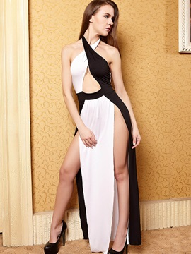 White and Black Halter Slit Long Dress Sexy Lingerie