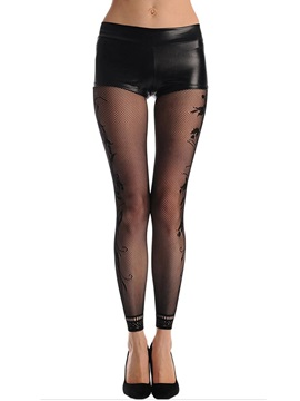 Black High-Waist Cut-Out Pantyhose
