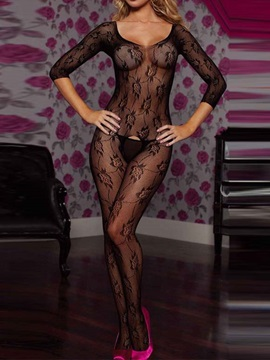 Black See-through Graphic Floral Body Stocking