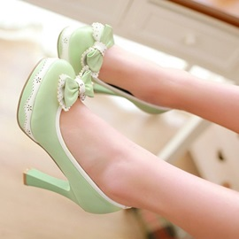 New Style Green Bowknot High Heel Prom Shoes