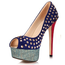 Popular Peep Toe Rivet Stiletto Heel Platform Pumps