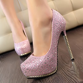Shiny Platform Stiletto Prom Shoes