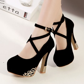 Metal Deco Ankle Strap Prom Shoes