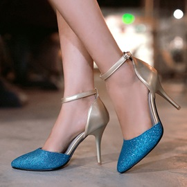 Sequins Ankle Strap Cut-Out Pumps