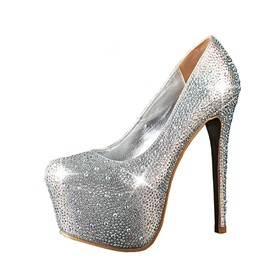 Full-Rinestone Stiletto Heel Women's Prom Shoes