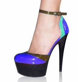 Color Block Ankle Strap Platform Prom Shoes