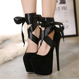 Suede Platform Ankle Strap Prom Shoes