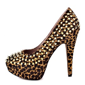 Leopard Printed Rivets Platform Prom Shoes