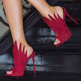 Red Peep-Toe Stiletto Heel Prom Shoes