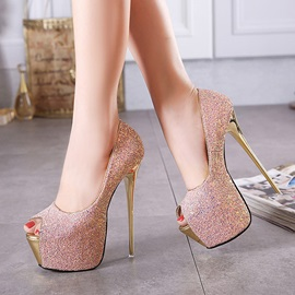 Colour Changing Sequins Peep-Toe Prom Shoes