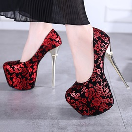 Floral Printed Stiletto Heel Platform Prom Shoes