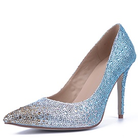 Gradient Shiny Rhinestone Pointed-Toe Pumps