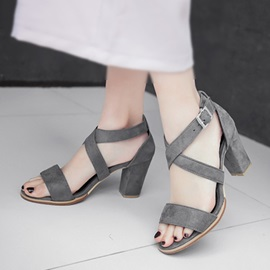 Solid Color PU Chunky Heel Buckle Sandals