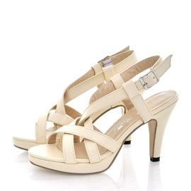 Solid Color PU Awl Heel Sandals