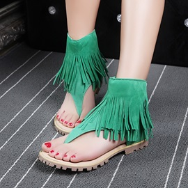 PU Tassels Back-Zip Thong Flat Sandals