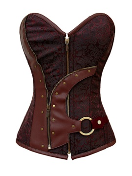 Fashion Dark Red Zipper Corset