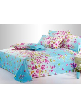 Bright Blue Printed Cotton Sheet with Pink Florals